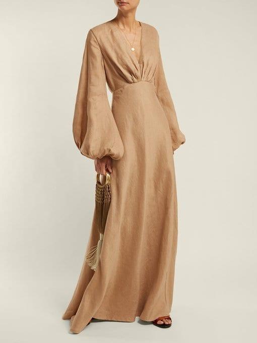 KALITA Utopia Balloon-Sleeve Linen Maxi Camel Dress