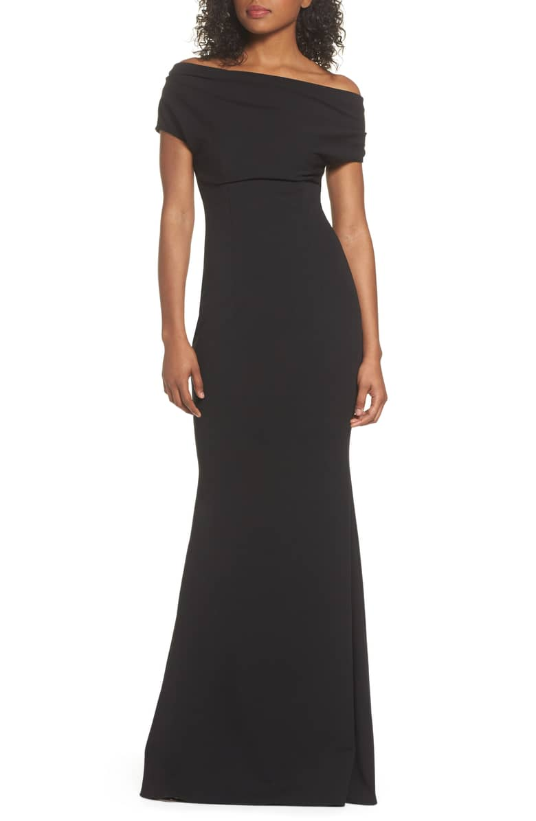 KATIE MAY Hannah One-Shoulder Crepe Trumpet Black Gown