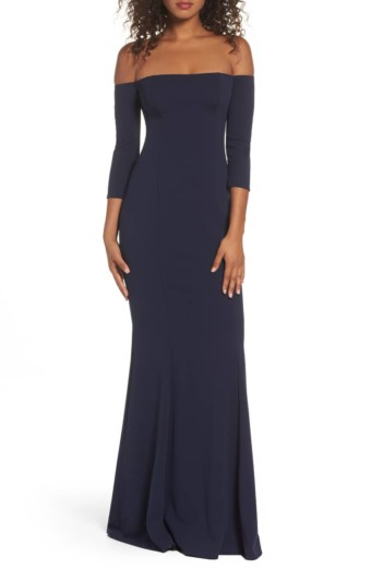 KATIE MAY Three-Quarter Sleeve Off the Shoulder Black Gown