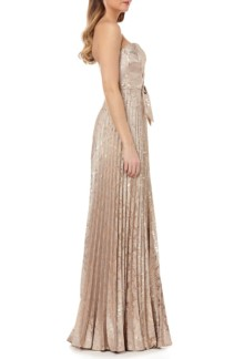 KAY UNGER Strapless Knot Detail Mikado Gold Gown 2