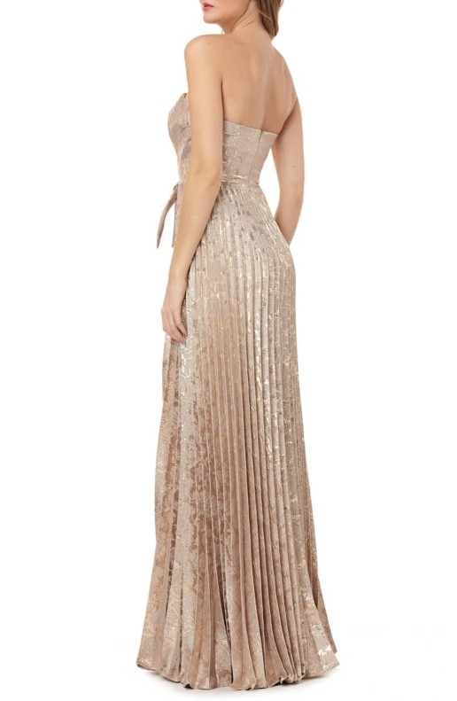 KAY UNGER Strapless Knot Detail Mikado Gold Gown 4