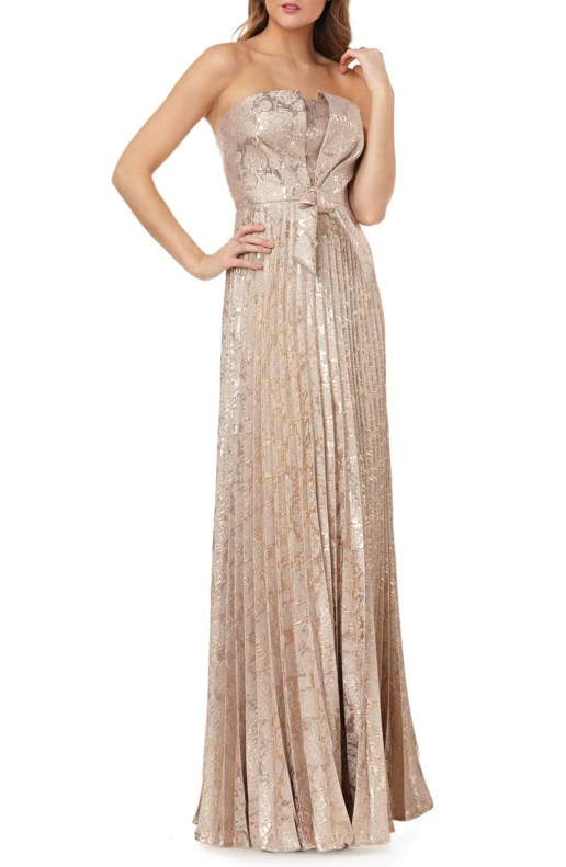 KAY UNGER Strapless Knot Detail Mikado Gold Gown