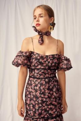 KEEPSAKE One Love Black Rose Floral Gown 2