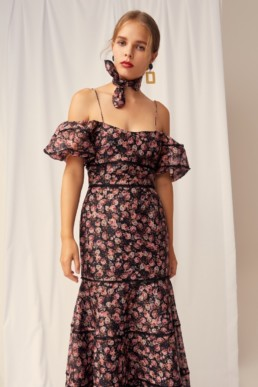 KEEPSAKE One Love Black Rose Floral Gown 3