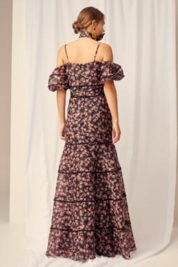KEEPSAKE One Love Black Rose Floral Gown 5