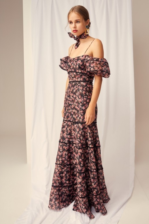 KEEPSAKE One Love Black Rose Floral Gown