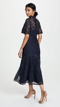 KEEPSAKE Utopia Lace Midi Navy Dress 2