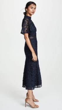 KEEPSAKE Utopia Lace Midi Navy Dress 3
