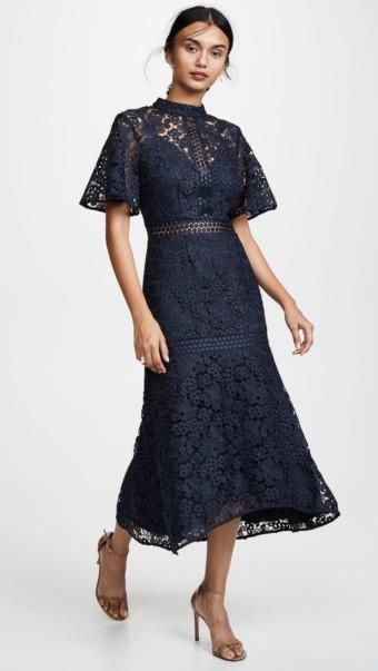 KEEPSAKE Utopia Lace Midi Navy Dress 4