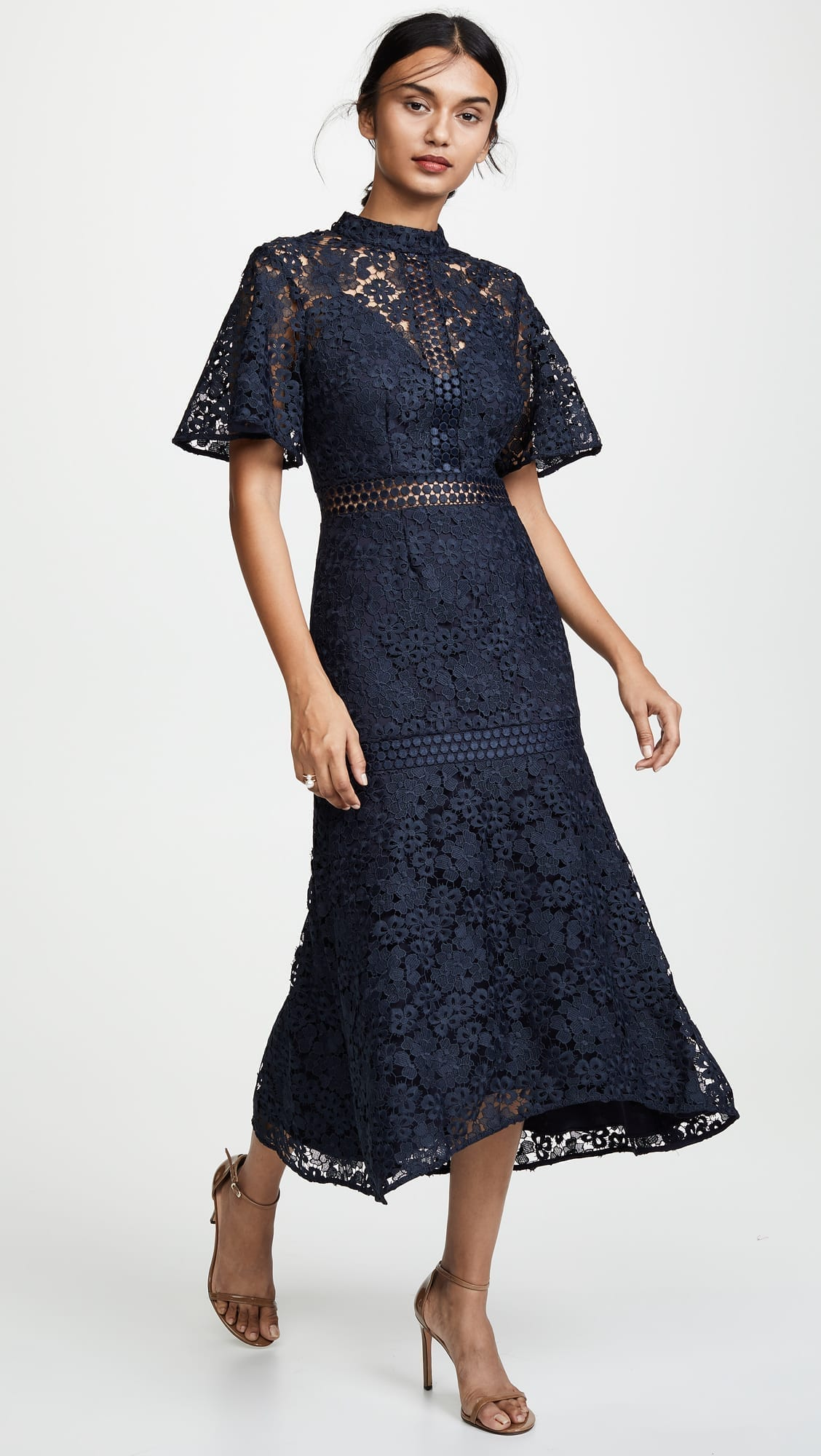 aa5f01621cc4 KEEPSAKE Utopia Lace Midi Navy Dress - We Select Dresses