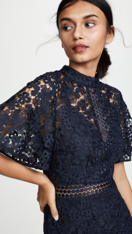 KEEPSAKE Utopia Lace Midi Navy Dress 5