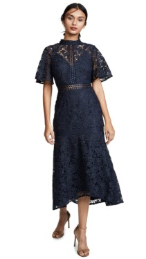 KEEPSAKE Utopia Lace Midi Navy Dress 6