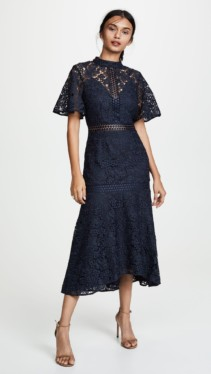 KEEPSAKE Utopia Lace Midi Navy Dress