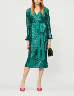 KITRI Alyssa Sequin-Embellished Green Dress