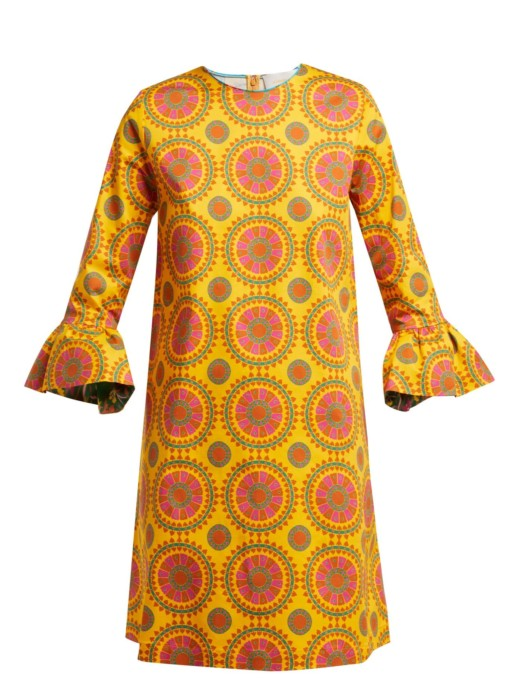 LA DOUBLEJ 24/7 Ruote Gialle-print Cotton-blend Yellow Dress 4