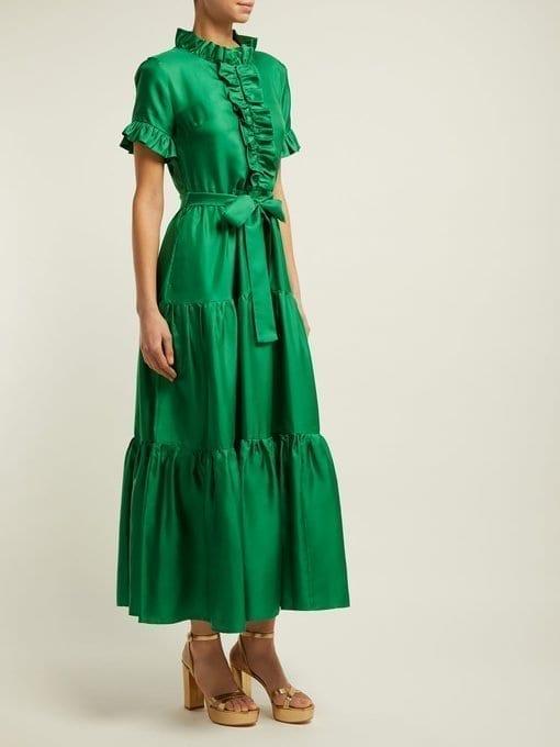 LA DOUBLEJ Long & Sassy Silk Green Dress 2