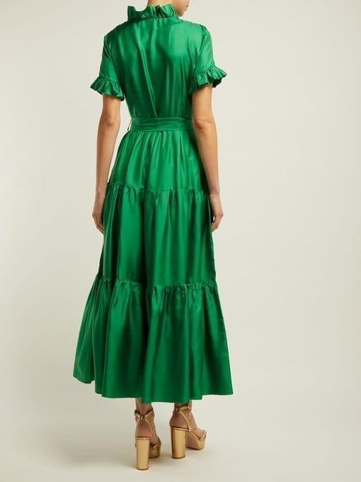 LA DOUBLEJ Long & Sassy Silk Green Dress 3