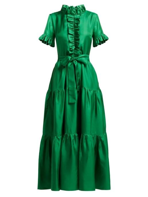 LA DOUBLEJ Long & Sassy Silk Green Dress 4