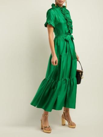 LA DOUBLEJ Long & Sassy Silk Green Dress