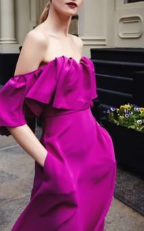 LELA ROSE Off-The-Shoulder Ruffle Silk Maxi Purple Dress 2