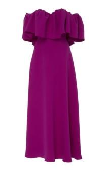 LELA ROSE Off-The-Shoulder Ruffle Silk Maxi Purple Dress 3