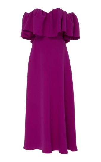 LELA ROSE Off-The-Shoulder Ruffle Silk Maxi Purple Dress 3