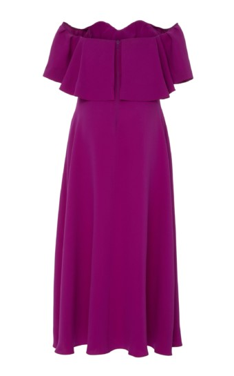 LELA ROSE Off-The-Shoulder Ruffle Silk Maxi Purple Dress 4