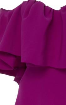 LELA ROSE Off-The-Shoulder Ruffle Silk Maxi Purple Dress 5