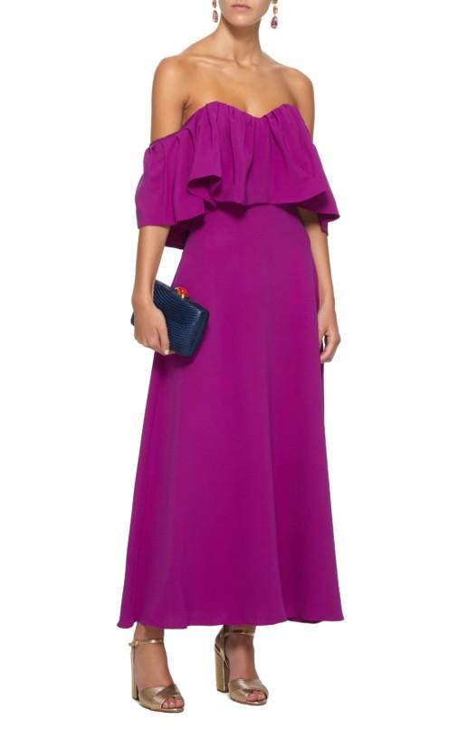 LELA ROSE Off-The-Shoulder Ruffle Silk Maxi Purple Dress