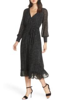 LENON Surplice Midi Black Dress