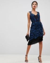 LIPSY Frill Hem In Print Allover Lace Bodycon Black Dress