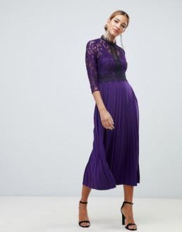 LITTLE MISTRESS Contrast Lace Prom Skater Midi Purple Dress