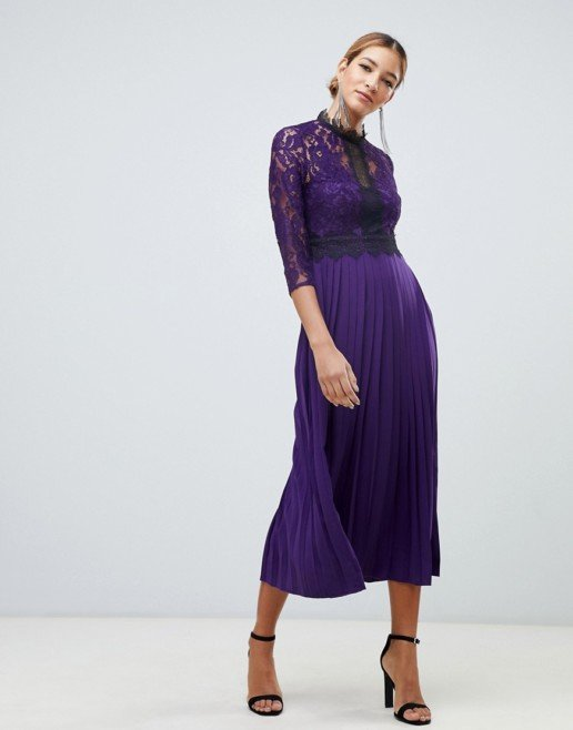 LITTLE MISTRESS Contrast Lace Prom Skater Midi Purple Dress