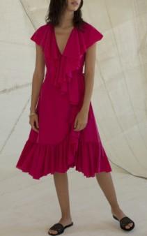 LOUP CHARMANT Callela Ruffled Silk-Chiffon Midi Pink Dress 2