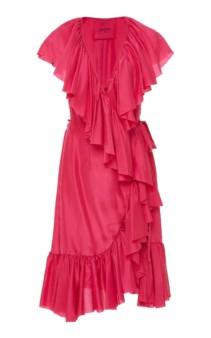 LOUP CHARMANT Callela Ruffled Silk-Chiffon Midi Pink Dress 3