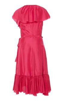 LOUP CHARMANT Callela Ruffled Silk-Chiffon Midi Pink Dress 4