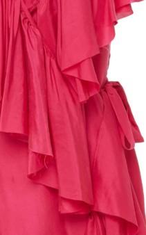 LOUP CHARMANT Callela Ruffled Silk-Chiffon Midi Pink Dress 5