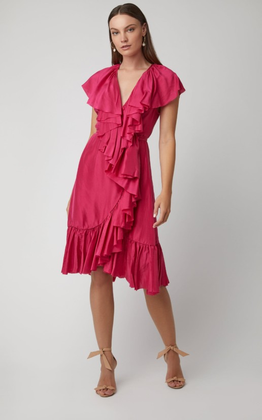 LOUP CHARMANT Callela Ruffled Silk-Chiffon Midi Pink Dress