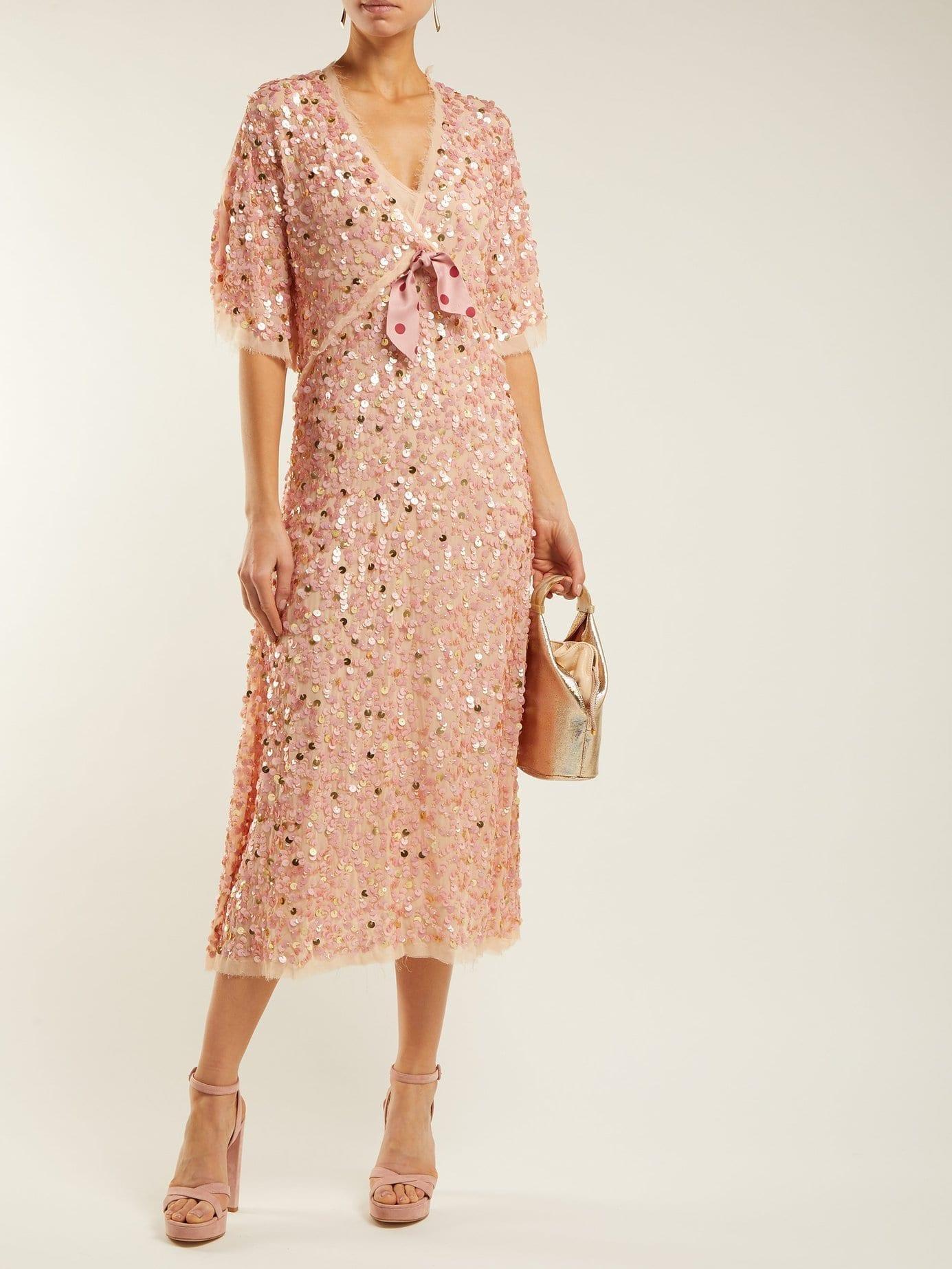 LUISA BECCARIA Bow Trim Sequinned Chiffon Pink Dress