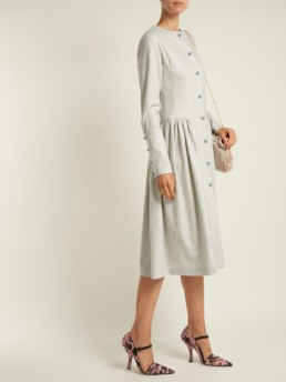 LUISA BECCARIA Wool-Blend Midi Blue Dress 2
