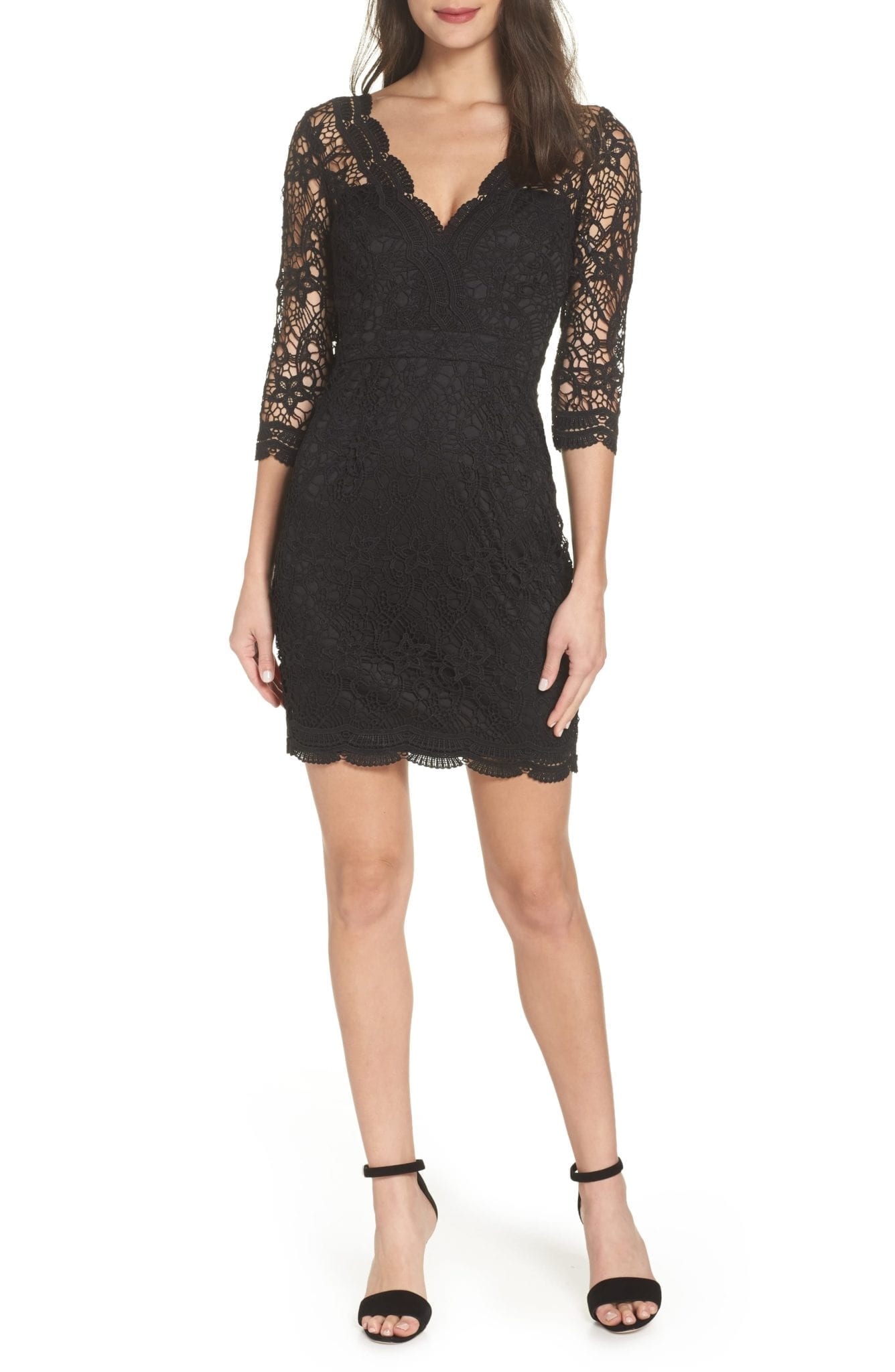 LULUS Lace Cocktail Black Dress