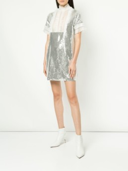 MACGRAW Electric Dream Sequinned Silver / Ivory Dress