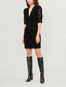 MAJE Rimael Velvet-Lace Black Dress
