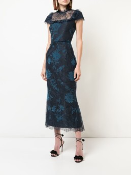 MARCHESA NOTTE Cap Sleeve Navy / Floral Printed Dress