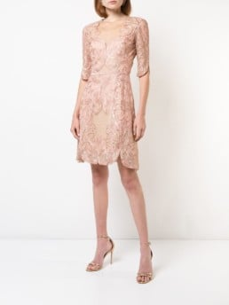 MARCHESA NOTTE Embroidered Lace Cocktail Pink Dress