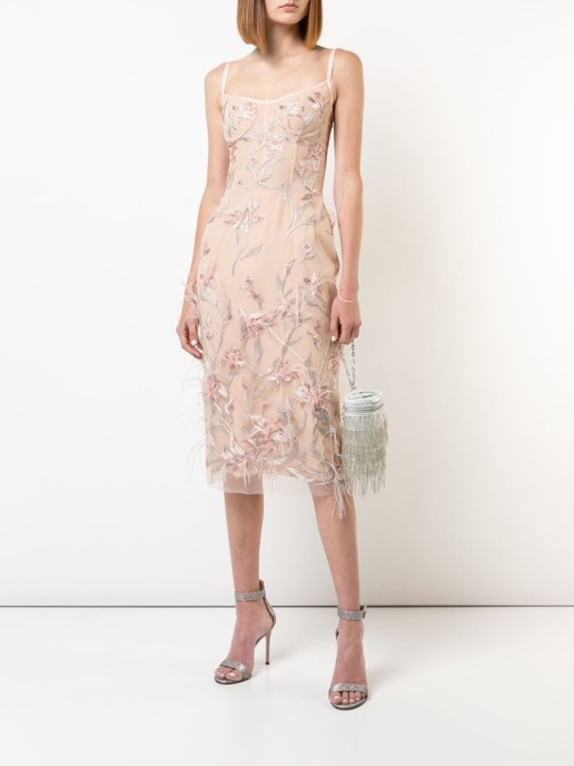 MARCHESA NOTTE Feather Embroidered Sleeveless Pink Dress
