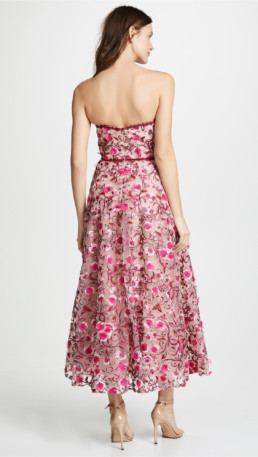 MARCHESA NOTTE Floral Embroidered Tea Length Floral Gown 2