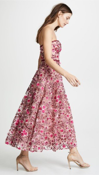 MARCHESA NOTTE Floral Embroidered Tea Length Floral Gown 3