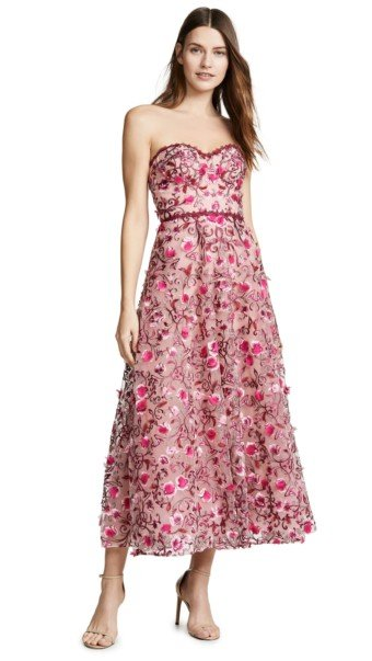 MARCHESA NOTTE Floral Embroidered Tea Length Floral Gown 6