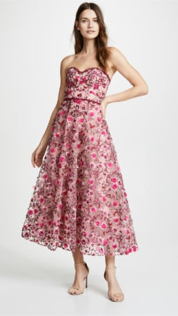 MARCHESA NOTTE Floral Embroidered Tea Length Floral Gown